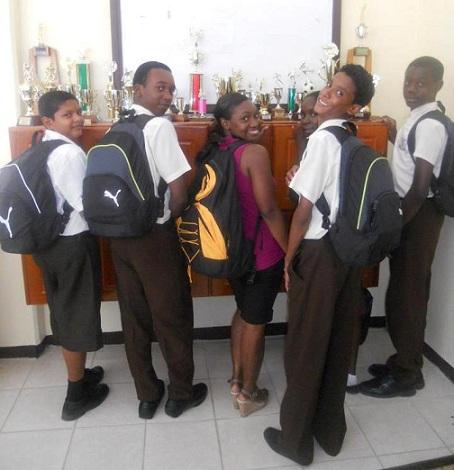 Backpack distribution, Tutorial High School, Guyana