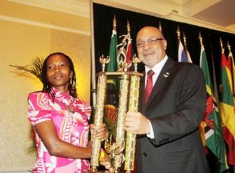 Euleen Josiah-Tanner awarded for winning 2011 CARICOM 10K Race