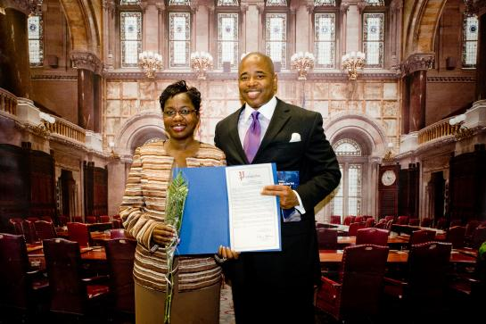 Senator Adams honors his nominee Dr. Janice Emanuel Bunn for her stellar work in the community and academics, in May, 2010