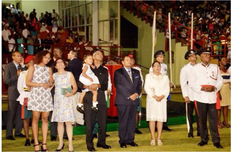 His Excellency David Granger, First Lady Sandra Granger, their daughter and granddaughter along with Prime Minister Moses Nagamootoo and his wife, Mrs. Sita Nagamoottoo enjoying the fireworks display at the Guyana National Stadium.