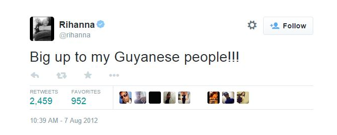 Ri Ri showed love to her Guyanese people on Twitter in 2012.