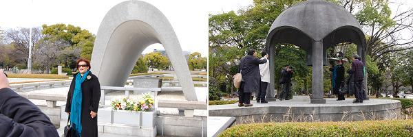 Ms.Pollard toured around Peace Memorial Park with a Hiroshima peace volunteer guide in Japan