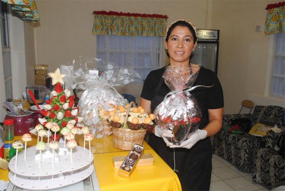 Indra showcasing her custom made gift basket