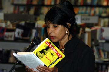 "Reading an excerpt from her book ""The Hangman Game"""