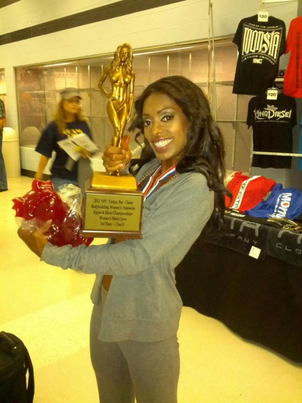 Cheriece with one of her winning trophy