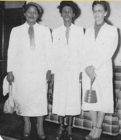 Jessica Burnham, Jane Phillips-Gay and Janet Jagan in 1953