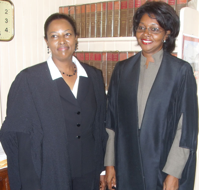Jacqueline Graham with Madame Justice Dawn Gregory-Barnes back in 2009 after being admitted to the Bar.