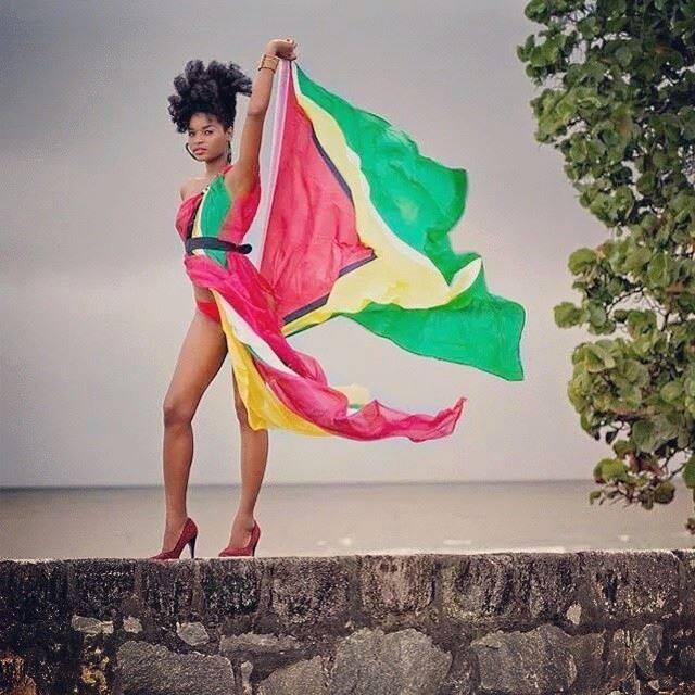 Miss Global International 2014 flying the Guyana Flag