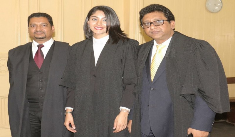 From left are: Justice Navindra Singh, Sasha Mahadeo and Attorney General Anil Nandlall.