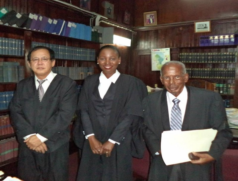 From left: Acting Chief Justice Ian Chang, Folio Richards and Senior Counsel Keith Massiah