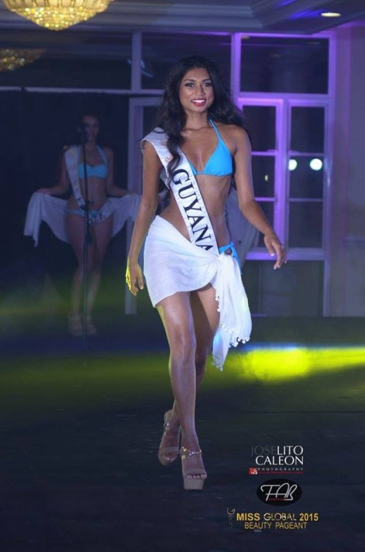 Miss Global Guyana Ariella Basdeo during the preliminary swimsuit competition of Miss Global 2015 in Manila, Philippines.