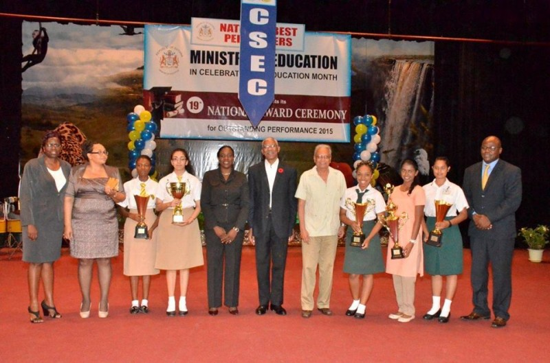 President David Granger and officials from the Education Ministry with this year's top CSEC and CAPE Awardees