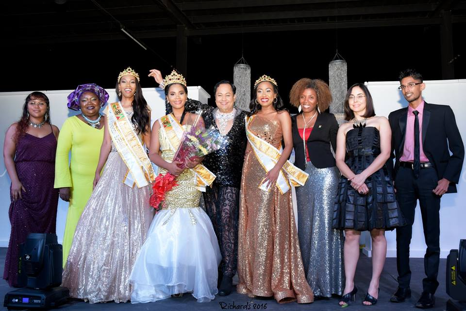 Nuriyyih with Miss World Guyana Francise holder, Natasha Blu-Martingale and first and second runners up, Treasure James and Najuma Nelson